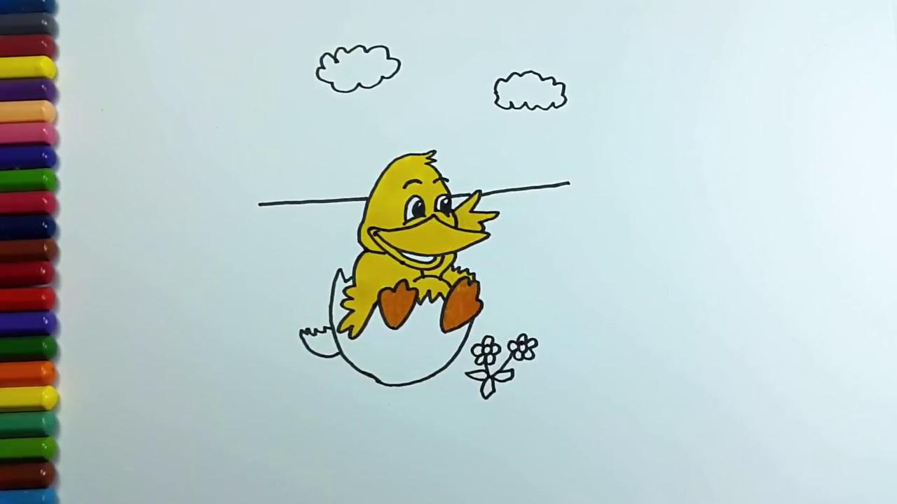 Mewarnai Bebek Cara Menggambar Bebek Lucu Untuk Bayi Youtube