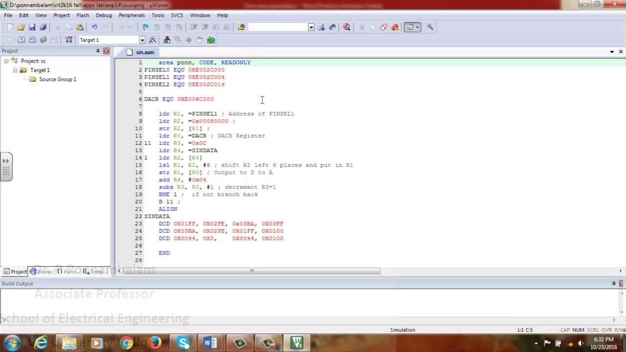 Sine wave generation using ARM7 processor