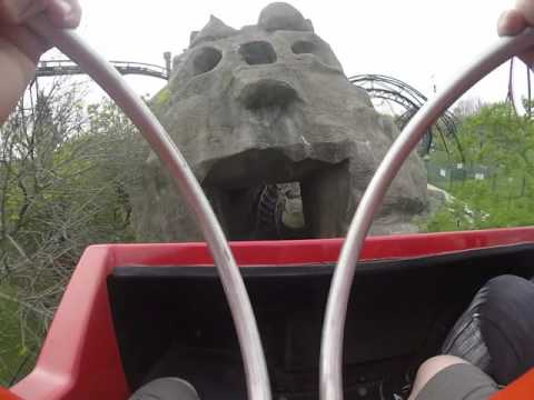 Demon roller coaster ride front seat at Six Flags Great America Gurnee IL