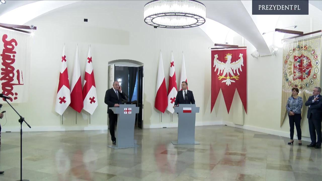 Wypowiedzi dla mediów Prezydenta RP Andrzeja Dudy i Prezydenta Gruzji Giorgi Margwelaszwilego