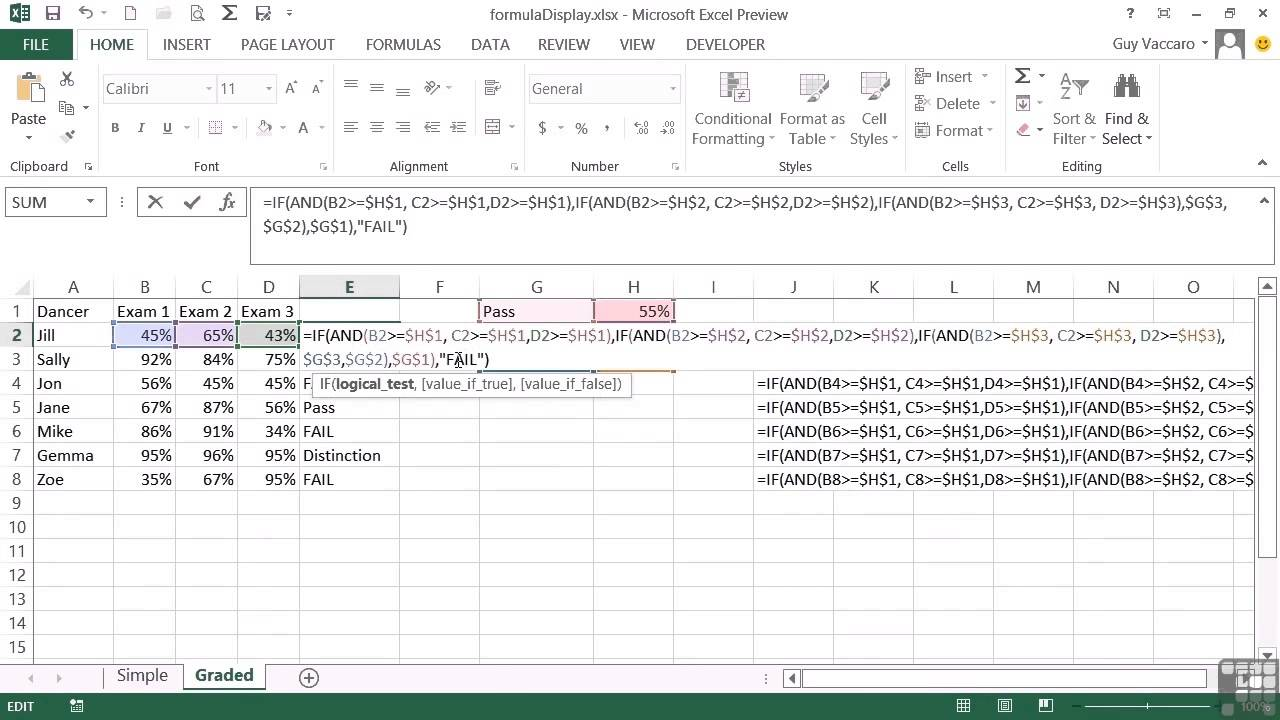 Advanced Microsoft Excel 2013 Tutorial Display Cell