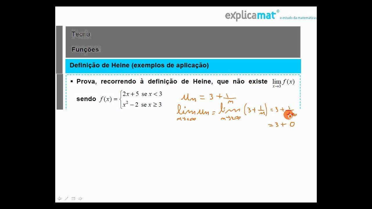 Limites de Sucessões - Limite segundo Heine - Matemática 12.º Ano