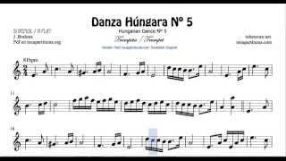 Danza Húngara Nº5 Partitura de Trompeta y Fliscorno en Si bemol