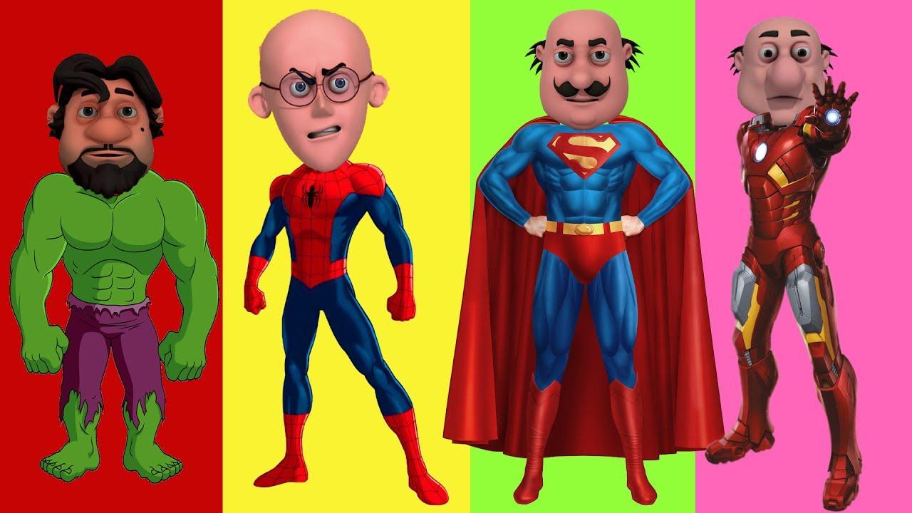 Motu Patlu Wrong Heads With Spiderman In Hindi Superman Hulk Iron