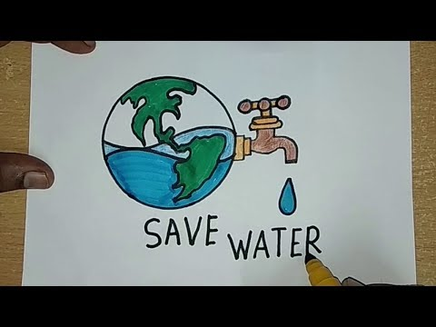 How to draw SAVE WATER SAVE EARTH Drawing For Kids || SAVE FUTURE Coloring drawing