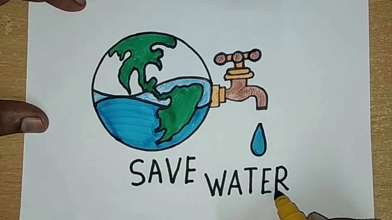 How To Draw Save Water Save Earth Drawing For Kids Save Future
