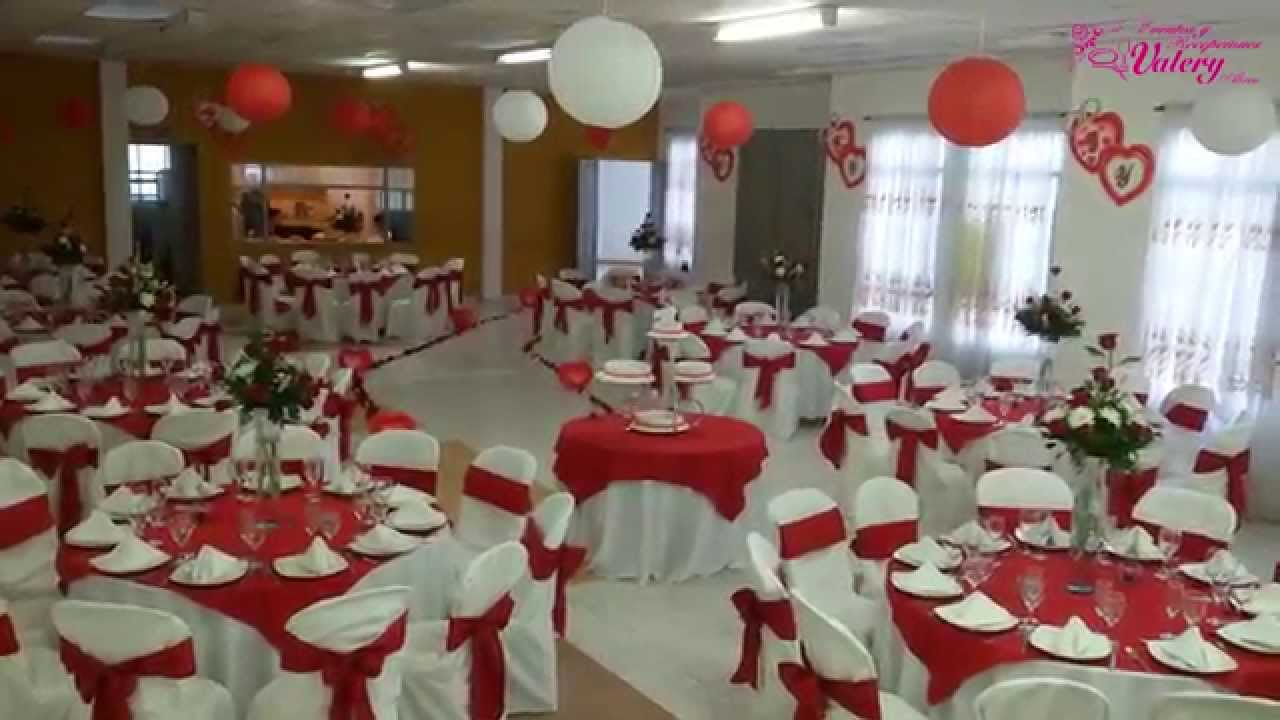 Matrimonio decoraci n en color rojo youtube for Arreglos de salon con globos