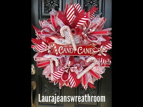 How to make a Candy Cane themed Christmas Wreath