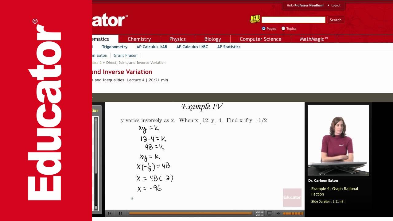 Algebra 2 Joint Variation Youtube