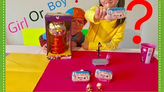 BABY SECRETS IT'S A BOY OR GIRL? BABY TOYS REVIEW/GUMBALL BANK UNBOXING WITH BLIPPI!