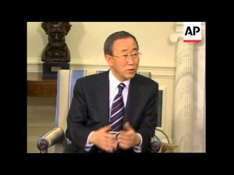 UN Sec Gen Ban Ki Moon comments, meeting with Bush