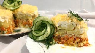 Салат с курицей. Рецепт слоенного салата. Получается очень вкусно.