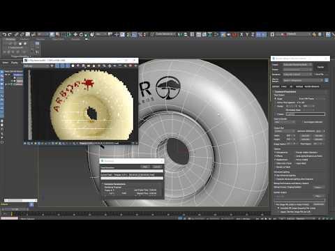3Ds Max.  Логотип на колесе по окружности. Как сделать развёртку. Модификатор Unwrap UVW.