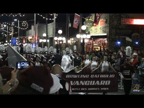 Dowling Catholic High School Vanguard Marching Band in the 2018 Outback Bowl Parade