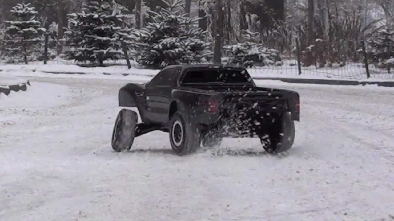 F 150 Snow Plow >> Traxxas Slash 2wd Ford Raptor snow bashing - YouTube