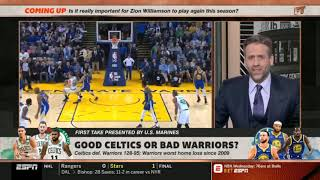"Stephen A. STRONG REACT ""Celtics def. Warriors 128-95; Good Celtics or Bad Warriors? | First Take"