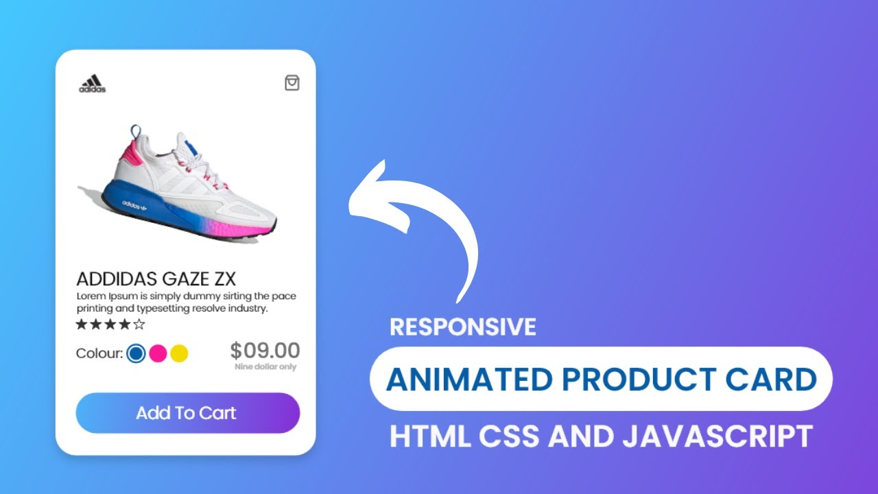 Create Animated Product Card using HTML CSS and JavaScript