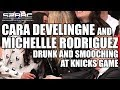 Michelle Rodriguez And Cara Delevingne Smooching And Drunk At Knicks Game