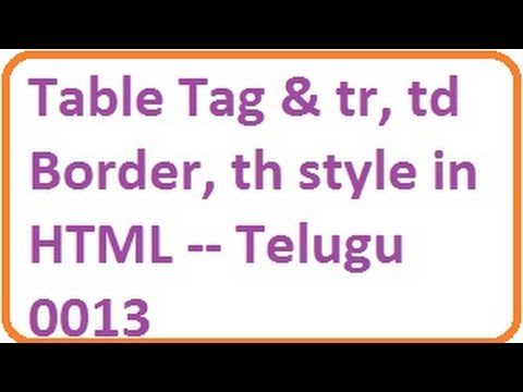 Table tag and tr td border th style in html telugu for Html table td