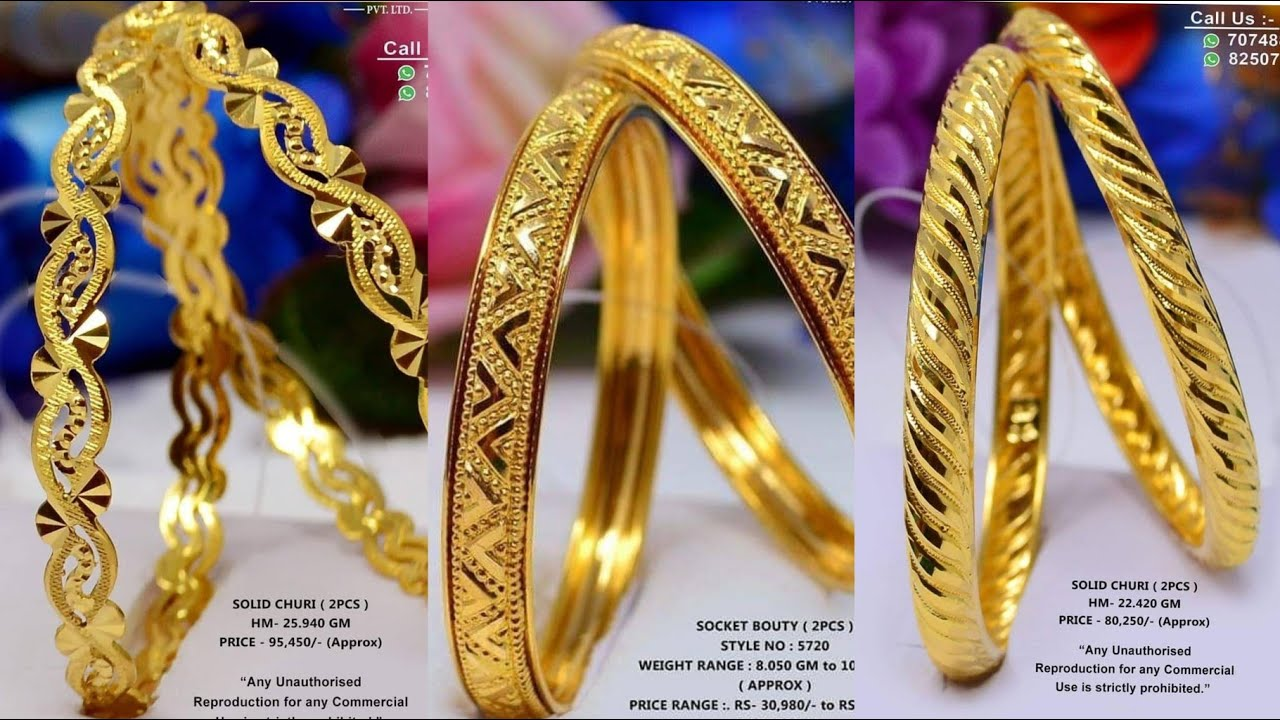 Gold Bangles Indian Designs With Weight