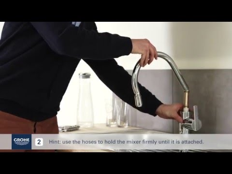 Install A GROHE Single Lever Kitchen Mixer With Pullout Mixer Spout