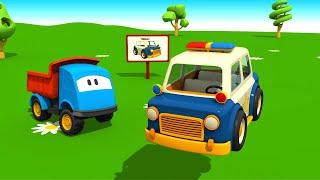 Coche de policía - Carros para niños - Leo la Troca Curiosa - Car cartoon