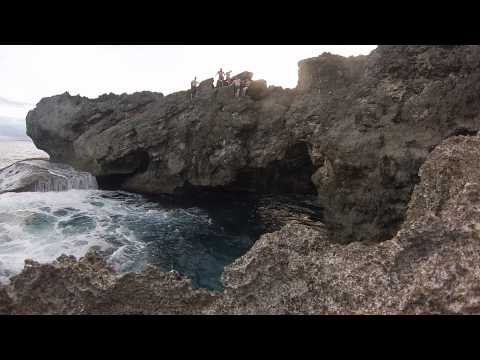 Cliff diving Guam Group jump!