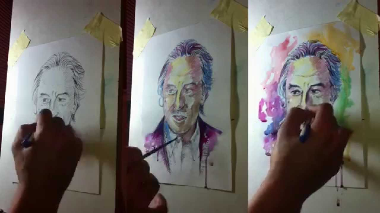 Watercolor and pen portrait in paper | Robert De Niro ...