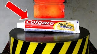 EXPERIMENT Glowing 1000 degree HYDRAULIC PRESS 100 TON vs TOOTHPASTE