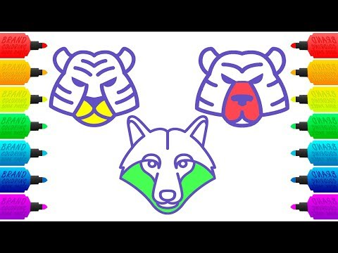 Wild Animals Coloring Pages | Drawing and Colouring Animal Faces | Learning for Children