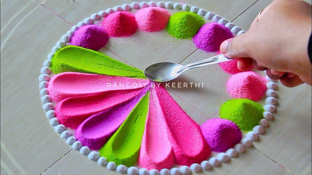 Simple rangoli designs for festivals using spoon l रंगोली l new rangoli l 2021 muggulu रंगोली डिजाइन