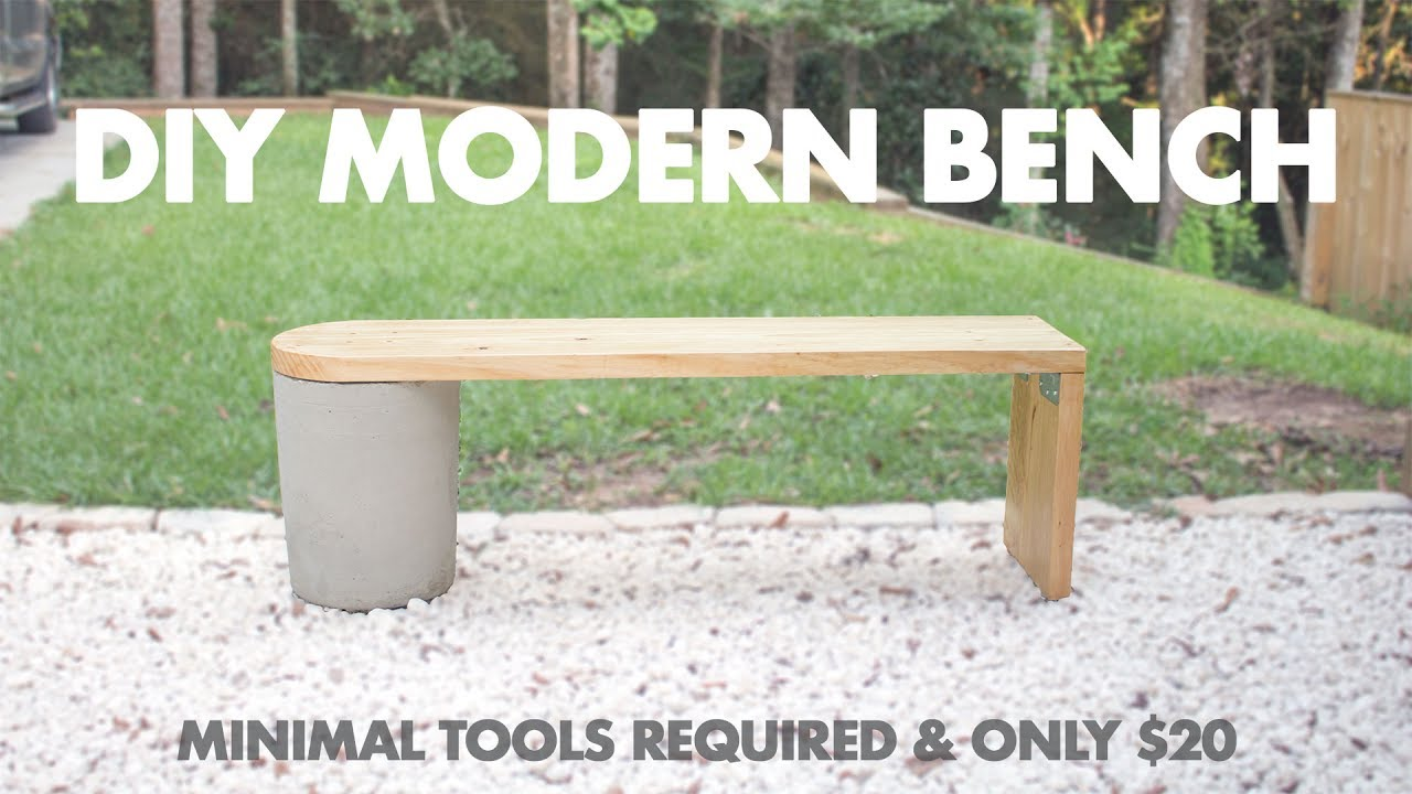 Outdoor Wood Bench Part - 45: $20 DIY Modern Concrete And 2x12 Wood Bench- Very Easy To Make