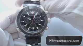 men s black emporio armani chronograph steel watch ar0547