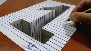 Draw a number 1 Hole on Line Paper   3D Trick Art