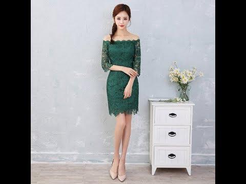 รวมแบบ ชุดราตรีสีเขียว ชุดออกงานสีเขียว ชุดไปงานแต่งสีเขียว สวยๆน่ารักเรียบหรู YT023
