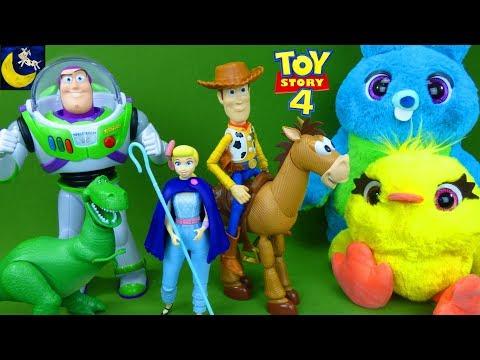 LOTS of Toy Story 4 Toys Bo Peep Woody Rex True Talkers Buzz Lightyear Sneak Peek Teaser Toy Videos