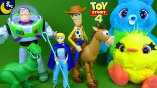 LOTS of New Toy Story 4 Toys Bo Peep Woody True Talkers Buzz Lightyear Sneak Peek Kids Toy Videos