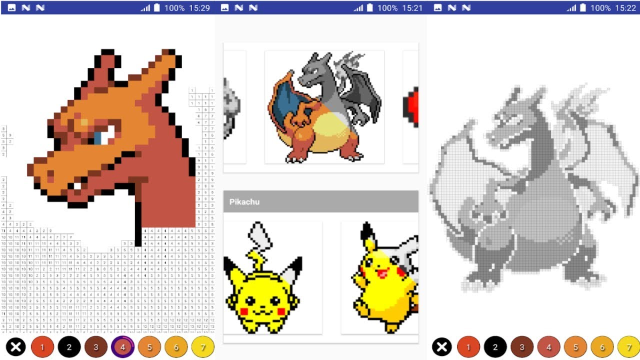 Color by Number Pokemon Pixel Art Android Gameplay - YouTube
