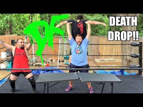 GRIM DESTROYS RAGING MANIAC WITH DEATH DROP THROUGH A TABLE
