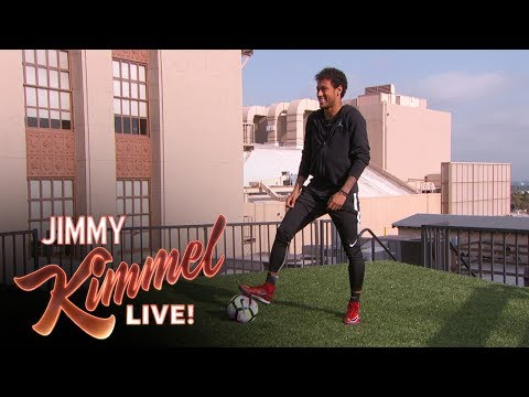 Neymar Jr Attempts Terrifying Shot from Jimmy Kimmel's Roof