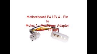Motherboard P4 12V 4-Pin to Molex 4-Pin Power Adapter Cable 12 Inch P#2792