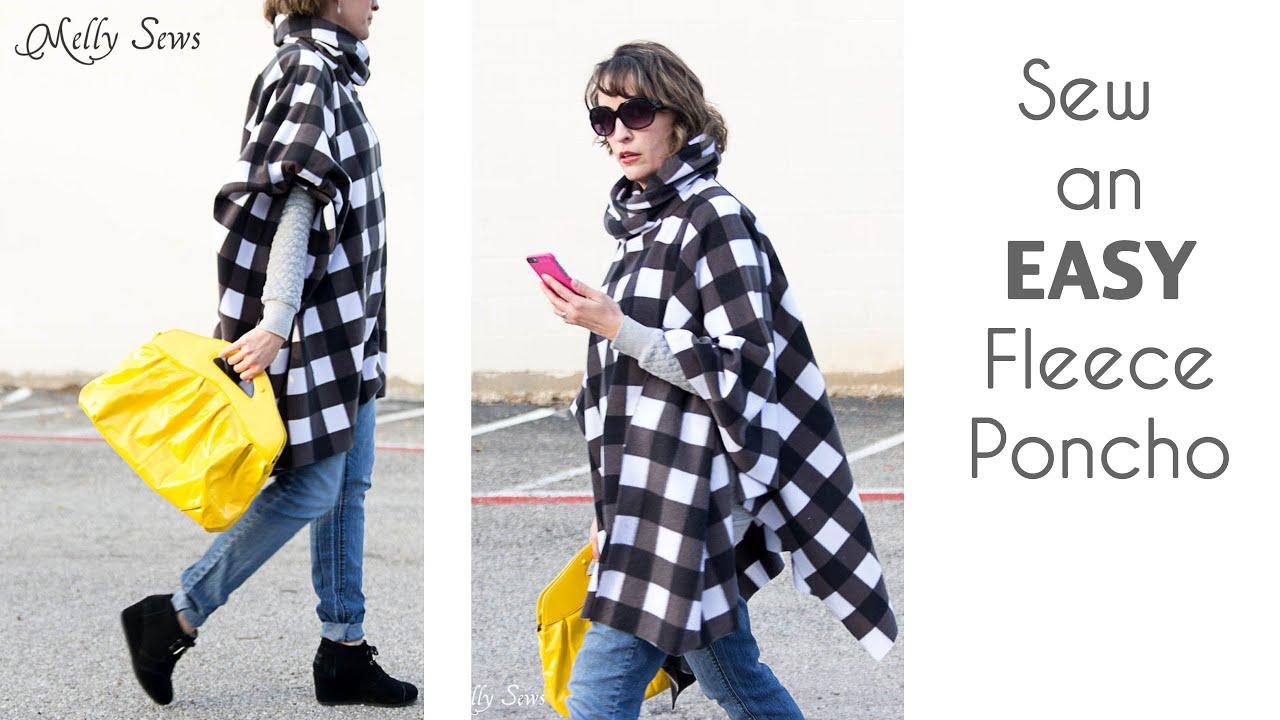 How to sew a fleece poncho with a cowl neck youtube jeuxipadfo Choice Image