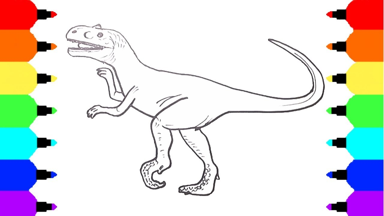 How to Draw a Dinosaur Velociraptor | Coloring Pages for Kids | Art ...