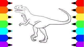 How to Draw a Dinosaur Velociraptor | Coloring Pages for Kids | Art Colours