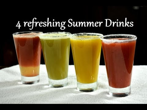 4 refreshing Summer Drinks | Fruit juice recipes | Juice recipes for summer | Lemonade recipes