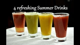 4 refreshing Summer Drinks | Fruit juice recipes | Juice recipes for summer | Lemonade recipes