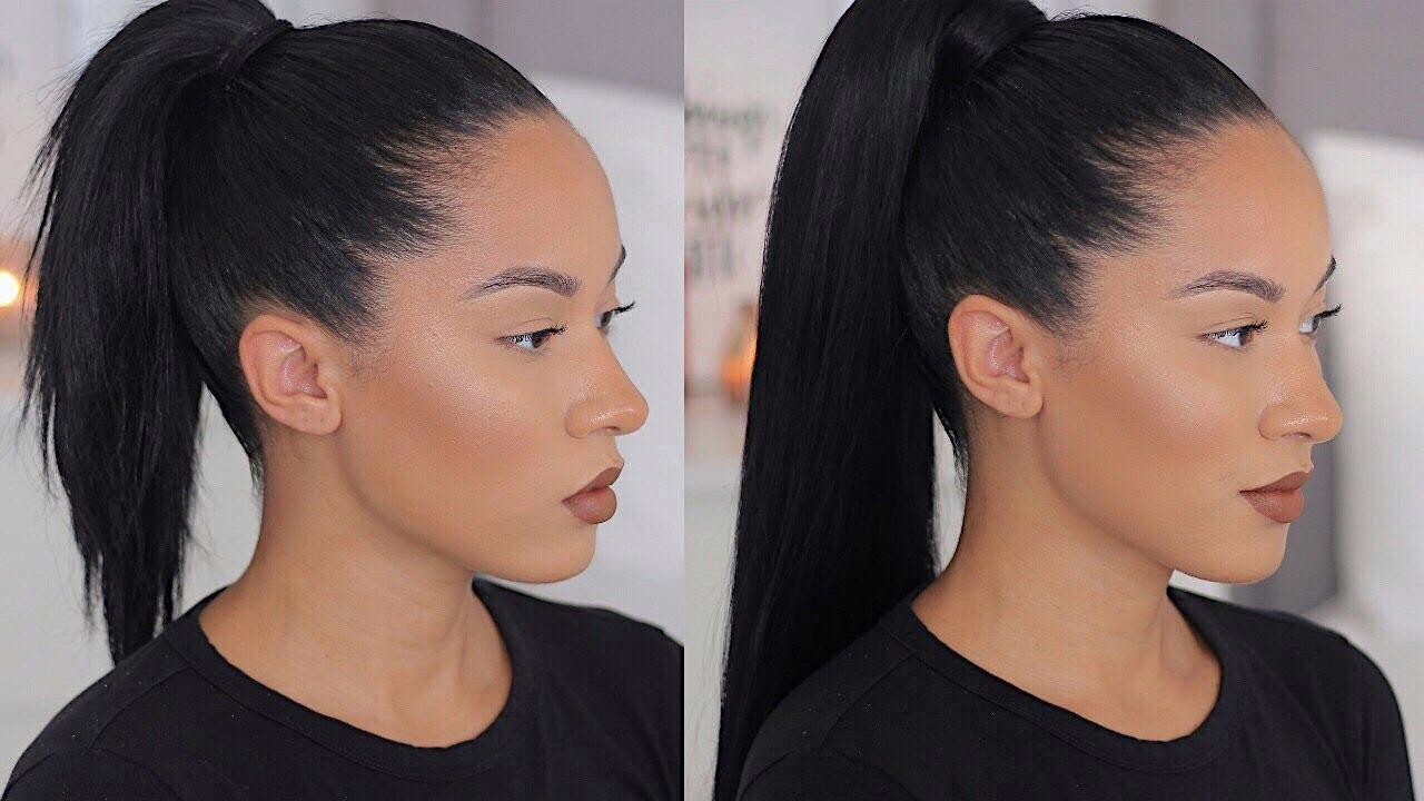 long sleek ponytail with short medium