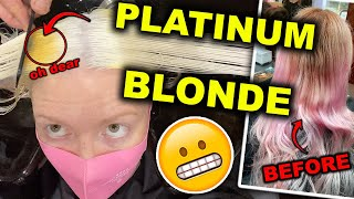 BLEACHING MY HAIR PLATINUM BLONDE!!!  (I look like a different person & my friends cried)