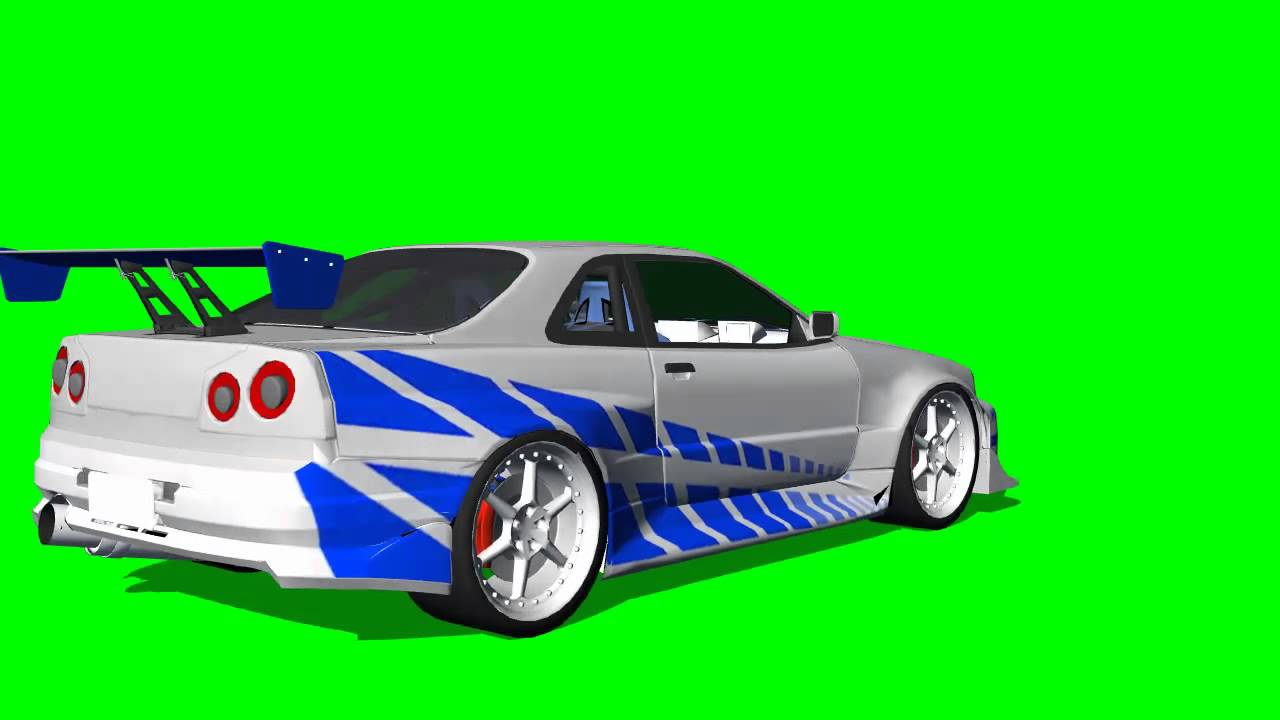 Nissan skyline 360 degree view fast and the furious 3d animation green screen effects