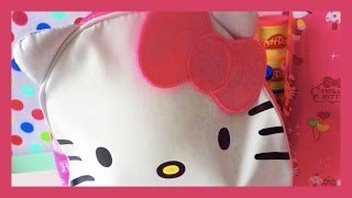 Hello Kitty Backpack Surprise! Balloon POP + Unwrapping Hello Kitty Card Pack! SHOPKINS Blind Bags!